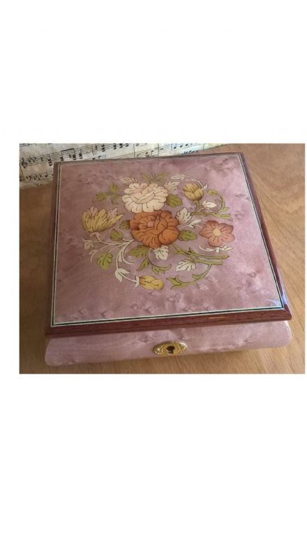 Italian Inlaid Musical Ballerina Jewellery Box 46/5FC Pink